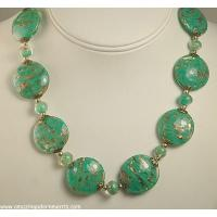 China Unsi Outstanding Old Green Venetian Glass Necklace on sale