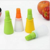 Quality Heat-resistant food grade silicone oil bottle with brush head for Barbecue oil jar for sale