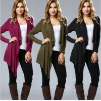 Quality Irregular Hem Drape Front Open Cardigan Long Sleeve for sale