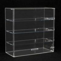 Quality Acrylic Countertop Display Case with Sliding Back and 3 Shelves for sale