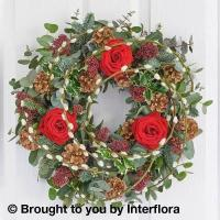 Buy cheap Festive Red Rose Door Wreath from wholesalers