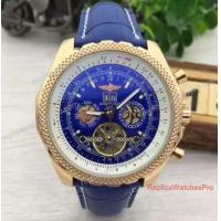 Buy cheap Wholesale Price Copy Breitling for Bentley Tourbillon Watch Rose Gold Blue Leather from wholesalers