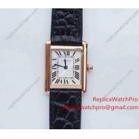 Buy cheap Swiss Quartz Cartier Tank Solo Replica Watch Rose Gold Black leather Strap from wholesalers