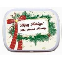 Holiday Party Favors Message Frame and Wreath Personalized Mint Tin xmas-013