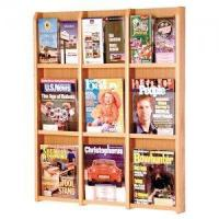 Quality 9 Magazine / 18 Brochure Oak and Acrylic Wall Display Literature Rack for sale