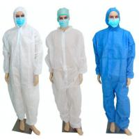 Quality PP Disposable Coverall Suit With Hood Breathable Nonwoven Full Body Protection Suit for sale