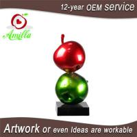 China Large Sculpture Resin Double Red Green Apples Statues for Home Ornaments on sale