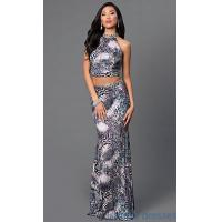 High Neck Animal Print Two Piece Dave and Johnny Dress DJ-2304