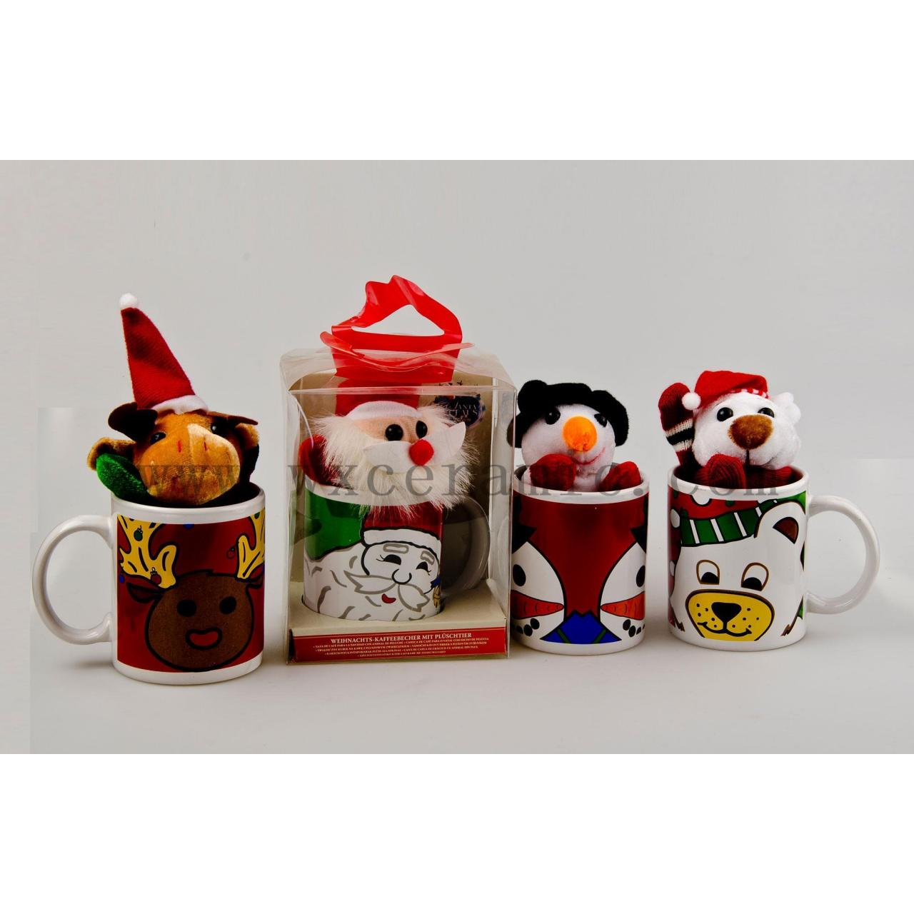 PVC box for mugs,coffee mug with toy for gift, ceramic mug for promotional
