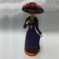 Quality 9 Inch Purple Resin Bride Day of the Dead Figurine for sale