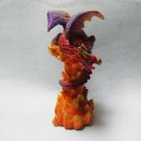 China 10 Inch Red and Orange Resin Dragon Figurine Statue on sale