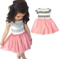 Quality Unique grey joint pink grenadine baby girl birthday dresses for sale
