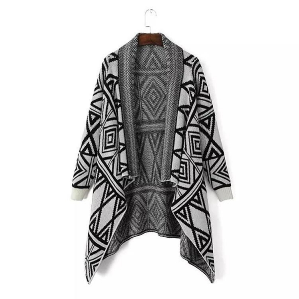 Buy Knitted pattern cardigan sweater grey women shawls poncho at wholesale prices