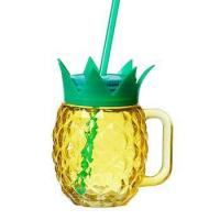 Buy cheap Pineapple shaped drinking glass cup mason jar with handle 12 oz from wholesalers