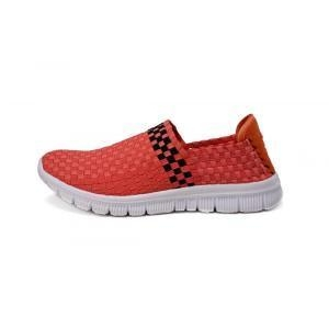 Buy Watermelon Red Soft Fabric Shoe Lining Woven Loafers at wholesale prices
