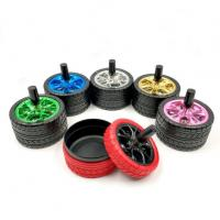 Quality Smokeless Car Silicone Rubber Tire Ashtrays With Metal Lids for sale