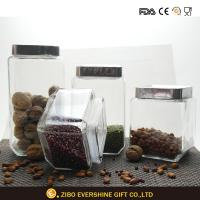 Quality Square Glass Storage Jars / Food Container With Stainless Steel Lid for sale