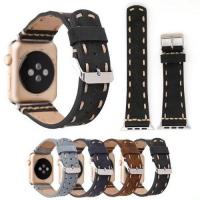 China Top Layer True Leather Handmade Watch Band Strap For Apple Watch iWatch 38_42mm_with retail package on sale