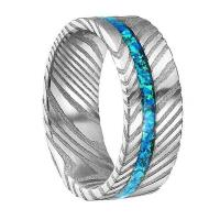 Quality Opal Damascus Steel Inlay Wedding Ring for Men Women for sale